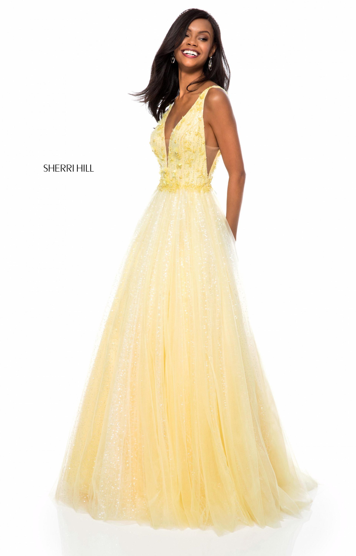 Sherri Hill 51708 Long Tulle Ball Gown V Neck Prom Dress