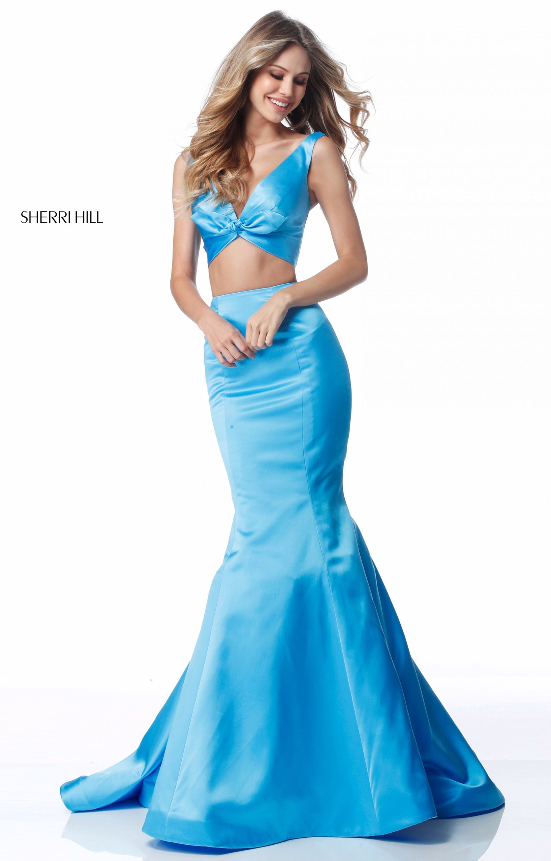 Sherri Hill 51712 Two Piece Satin Mermaid Prom Dress