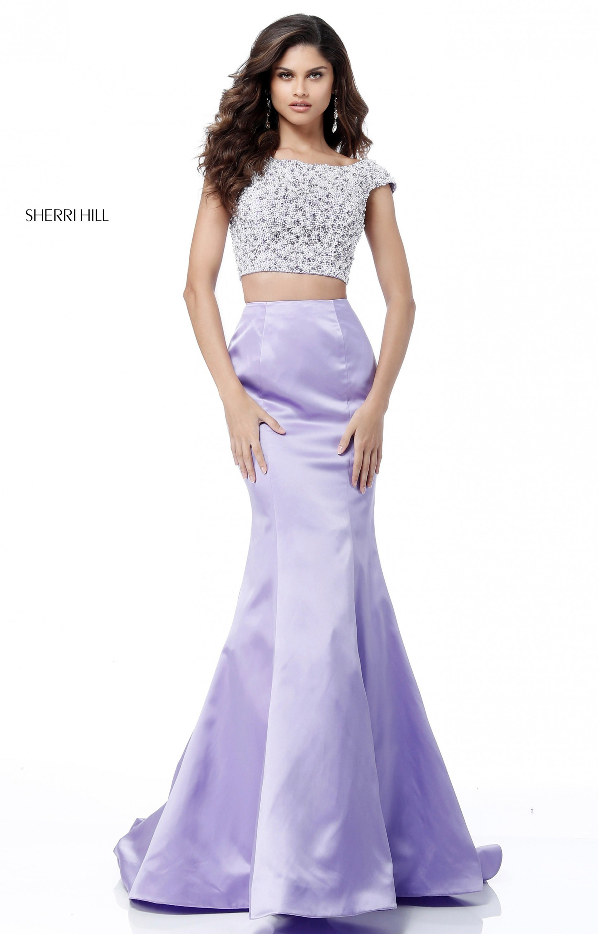 Sherri Hill 51715 Long 2 Piece Satin Mermaid Prom Dress