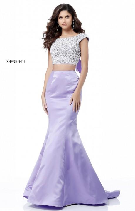 Sherri Hill 51715 Long 2 Piece Satin Mermaid Prom Dress