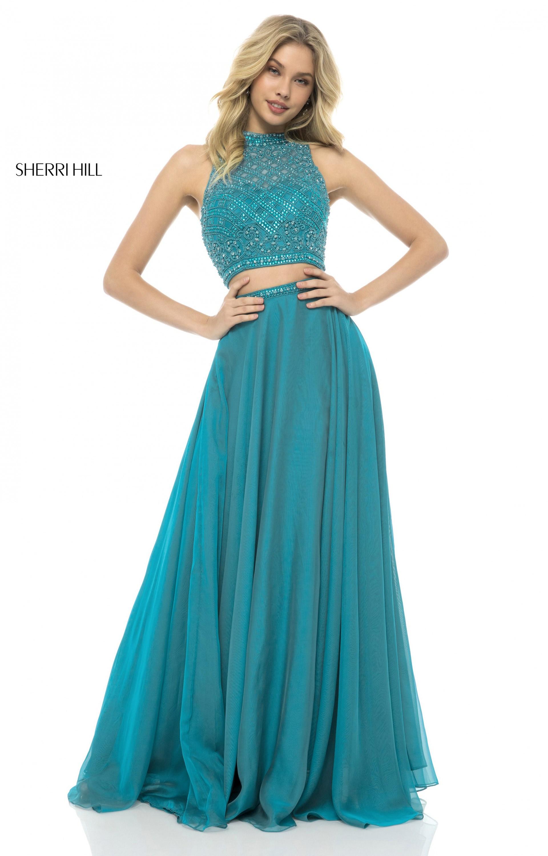 Sherri Hill 51724 2 Piece A Line Chiffon Prom Dress