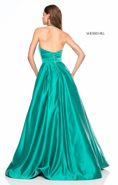 Sherri Hill 51729 - Long Satin Ball Gown V-Neck Prom Dress