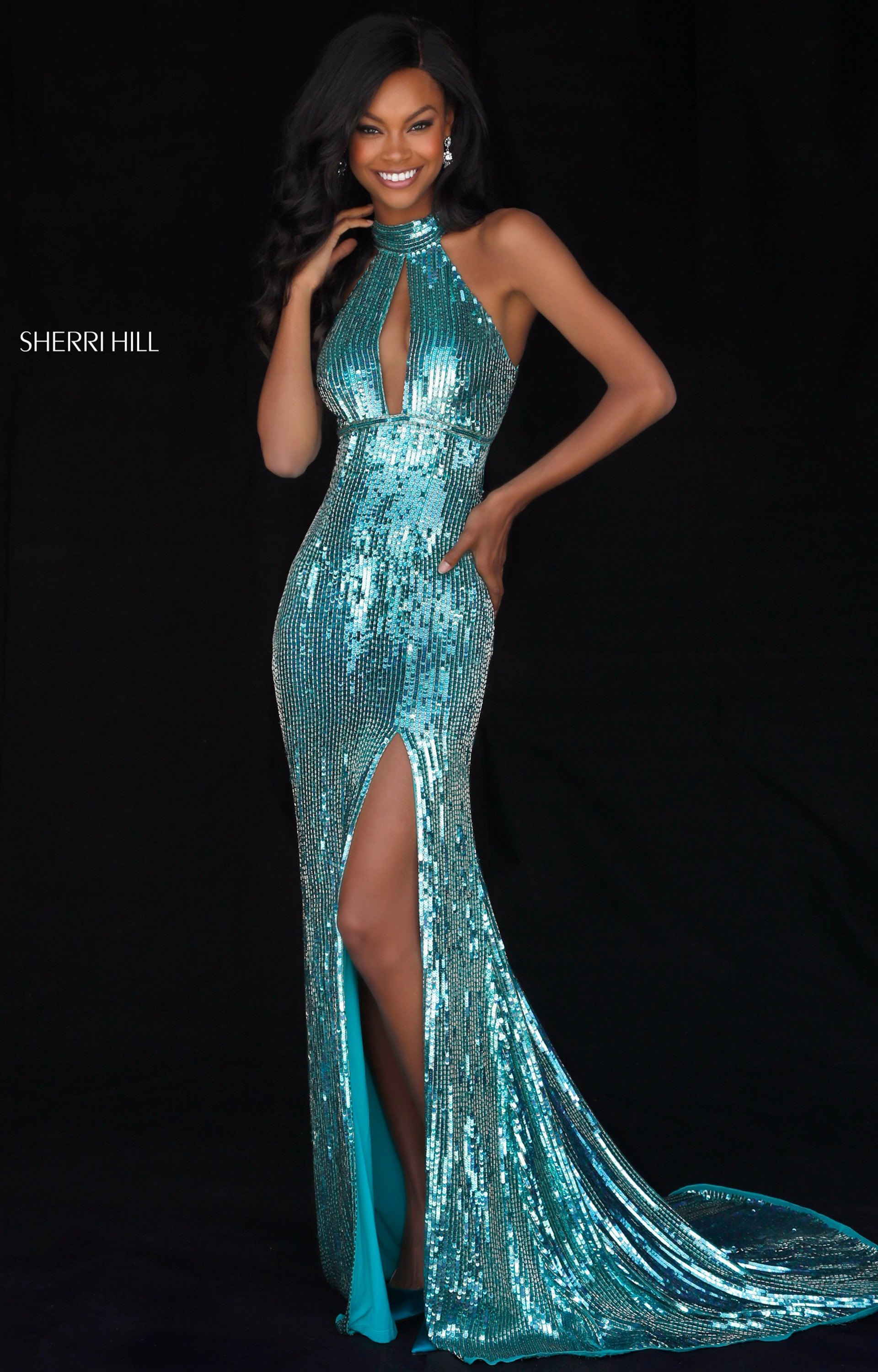 Sherri Hill 51741 - Long Fitted Sequins Prom Dress