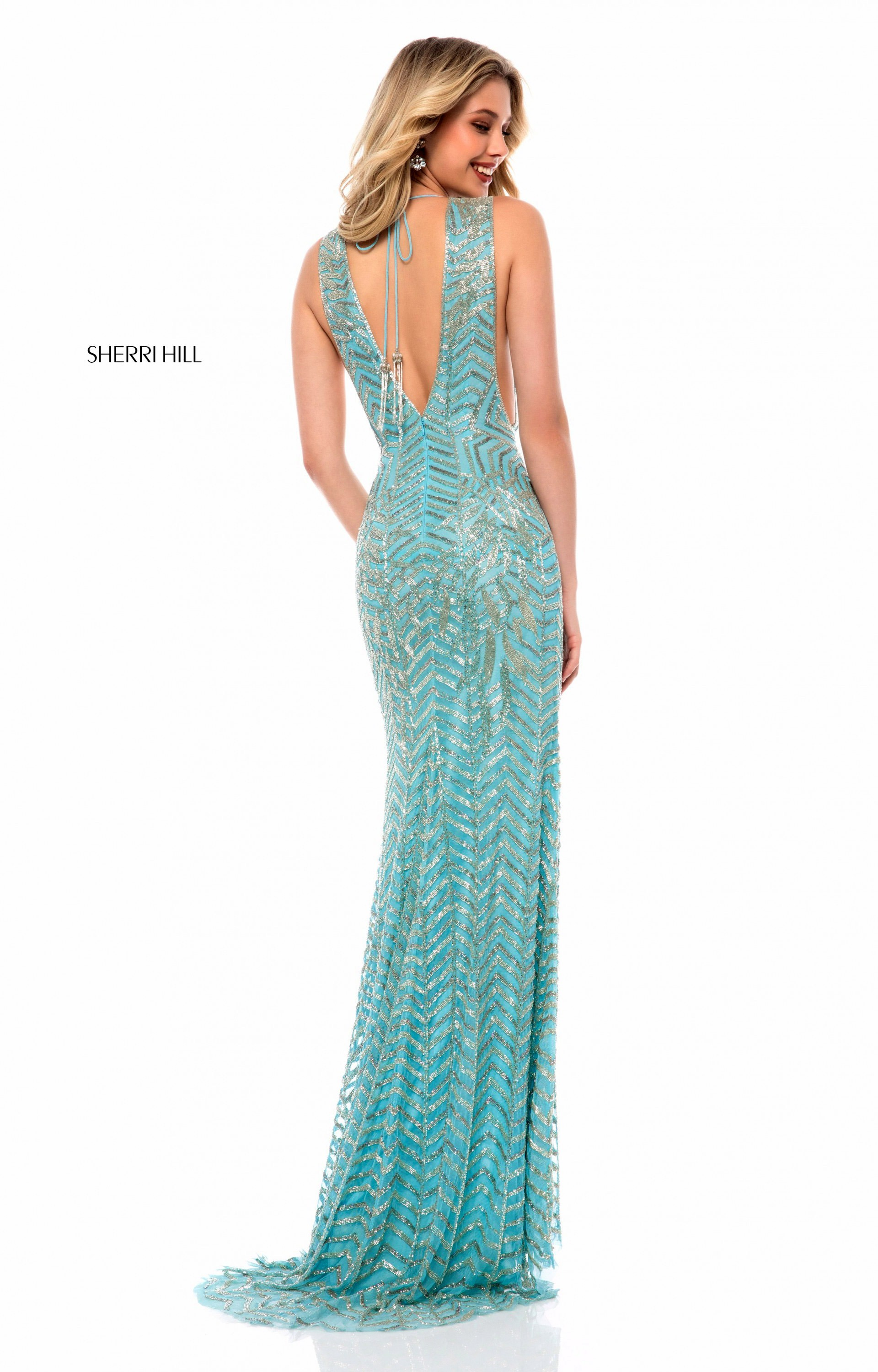 Sherri Hill 51745 - Long Fitted Sequins V-Neck Prom Dress