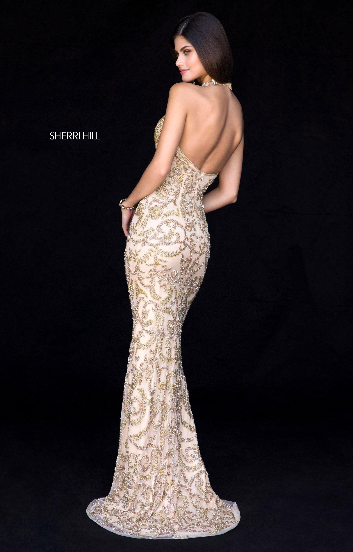 Sherri Hill 51749 Beaded Long Fitted V Neck Prom Dress
