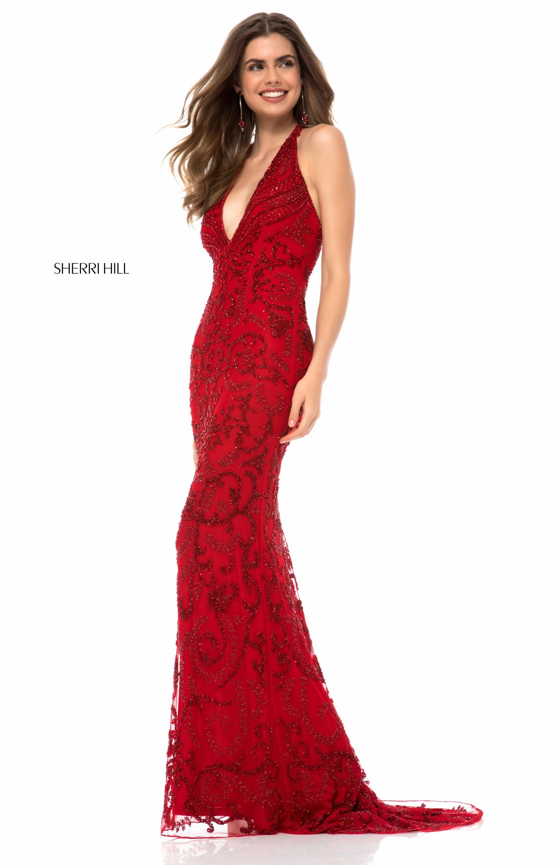 Sherri Hill - 52453 Fully Beaded V-Neck Long Evening Dress