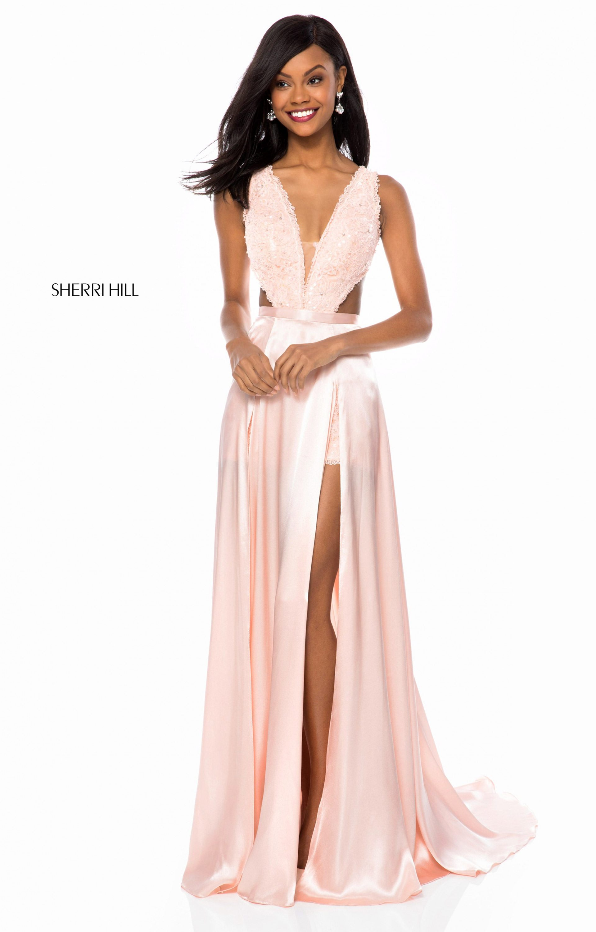 04bb605cc4a8 Sherri Hill 51765 - Lace V-Neck Romper with Charmeuse Overskirt Prom Dress