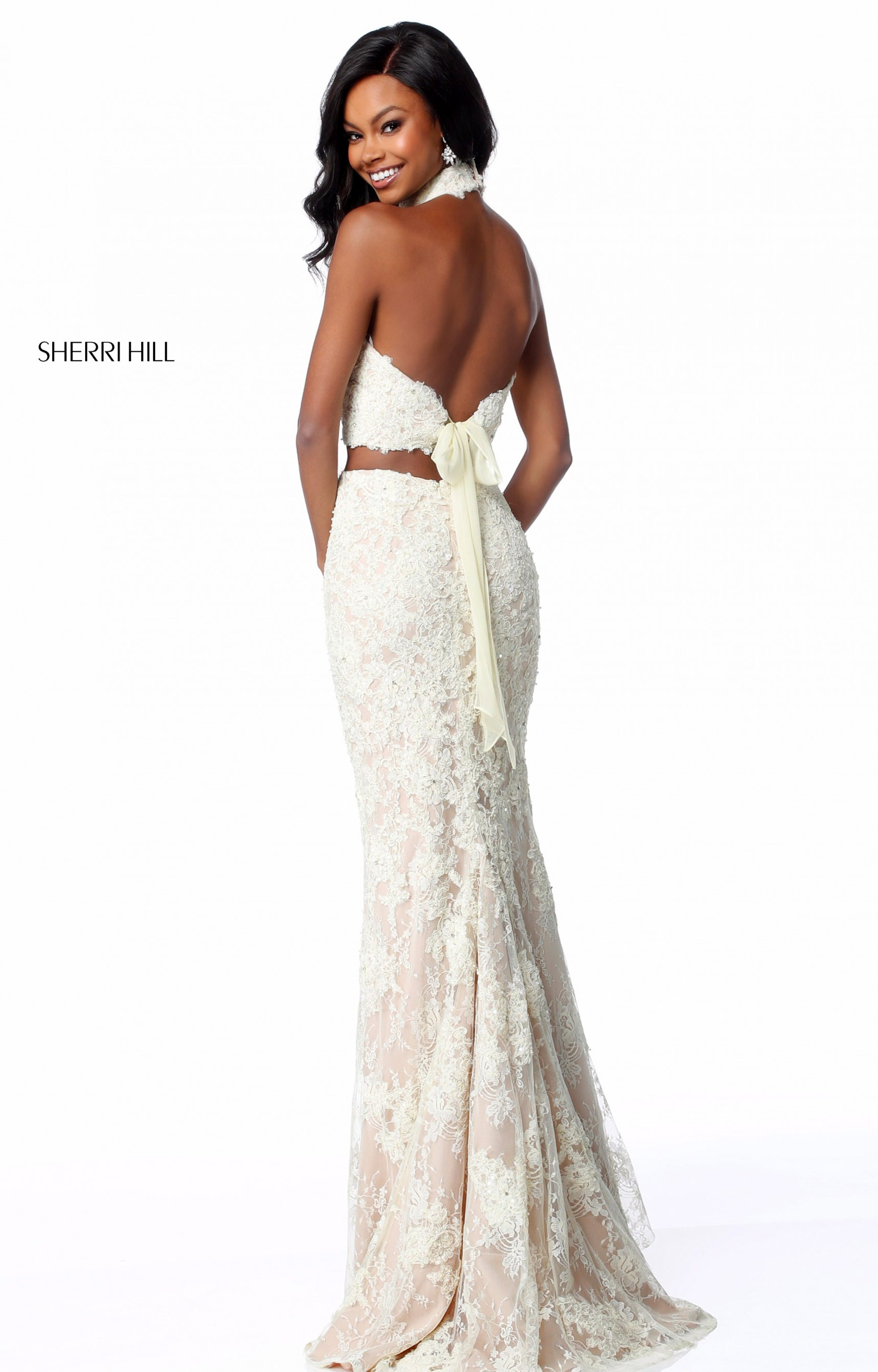 Sherri Hill 51770 Long Fitted Lace 2 Piece Prom Dress