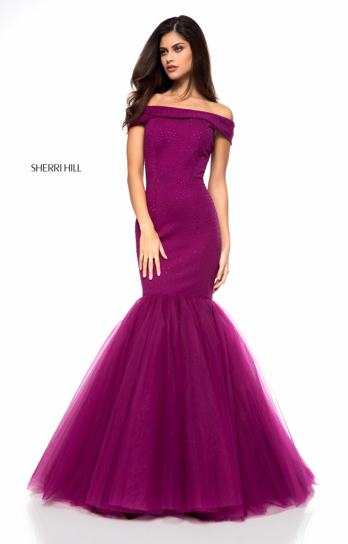 Sherri Hill 51778 Long Off The Shoulder Mermaid Prom Dress