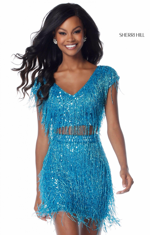 Sherri Hill 51781 - Short Fringe 2 Piece Prom Dress