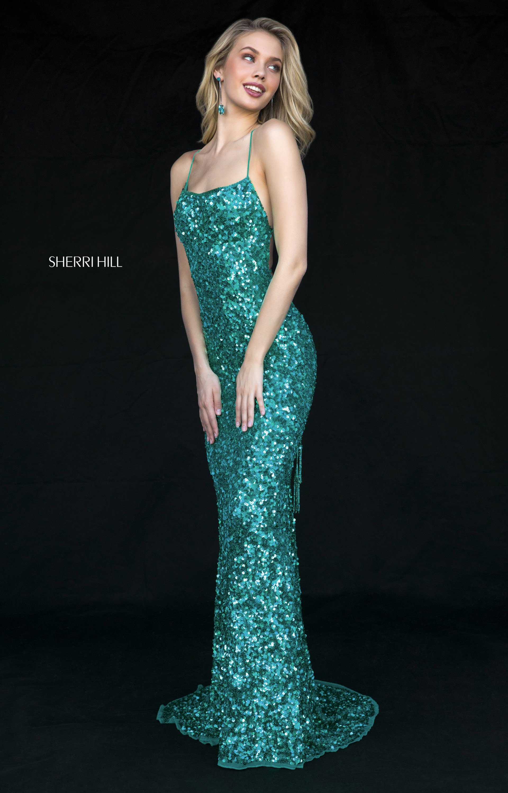 Sherri Hill 51783 - Long Fitted Sequins Open Back Prom Dress