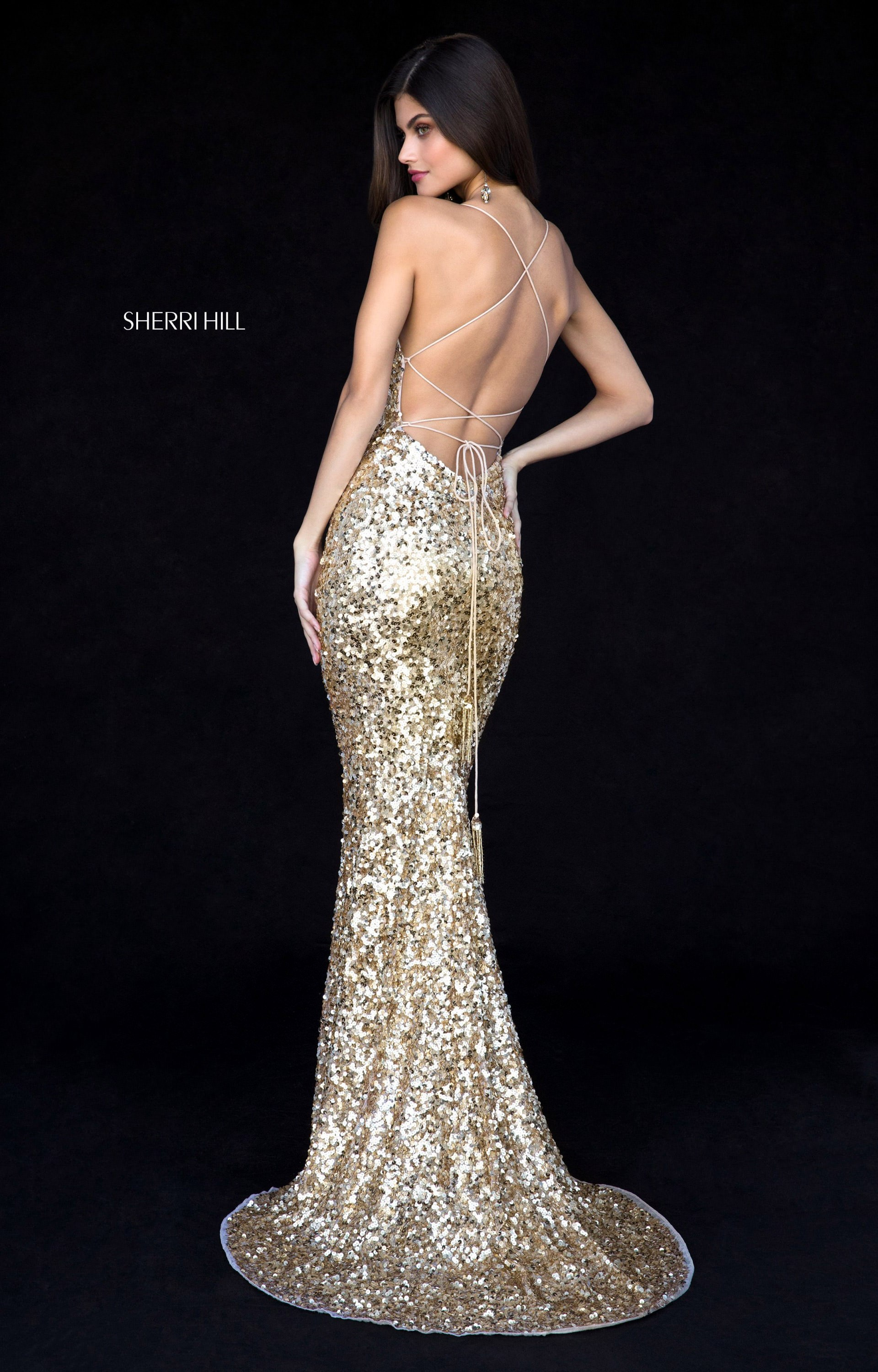 Sherri Hill 51783 Long Fitted Sequins Open Back Prom Dress
