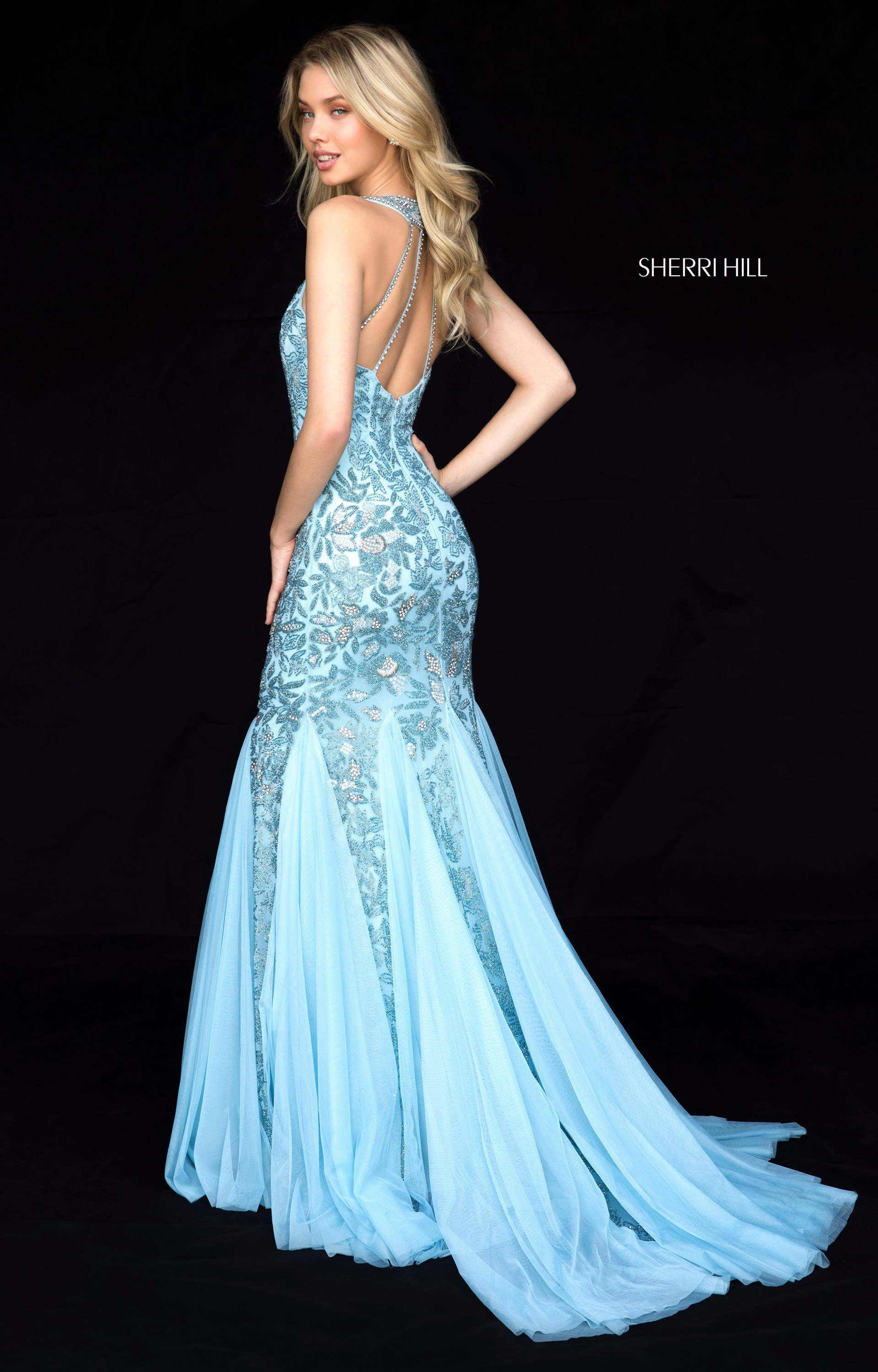 Sherri Hill 51787 - Long Beaded Mermaid with Chiffon Godets Prom Dress