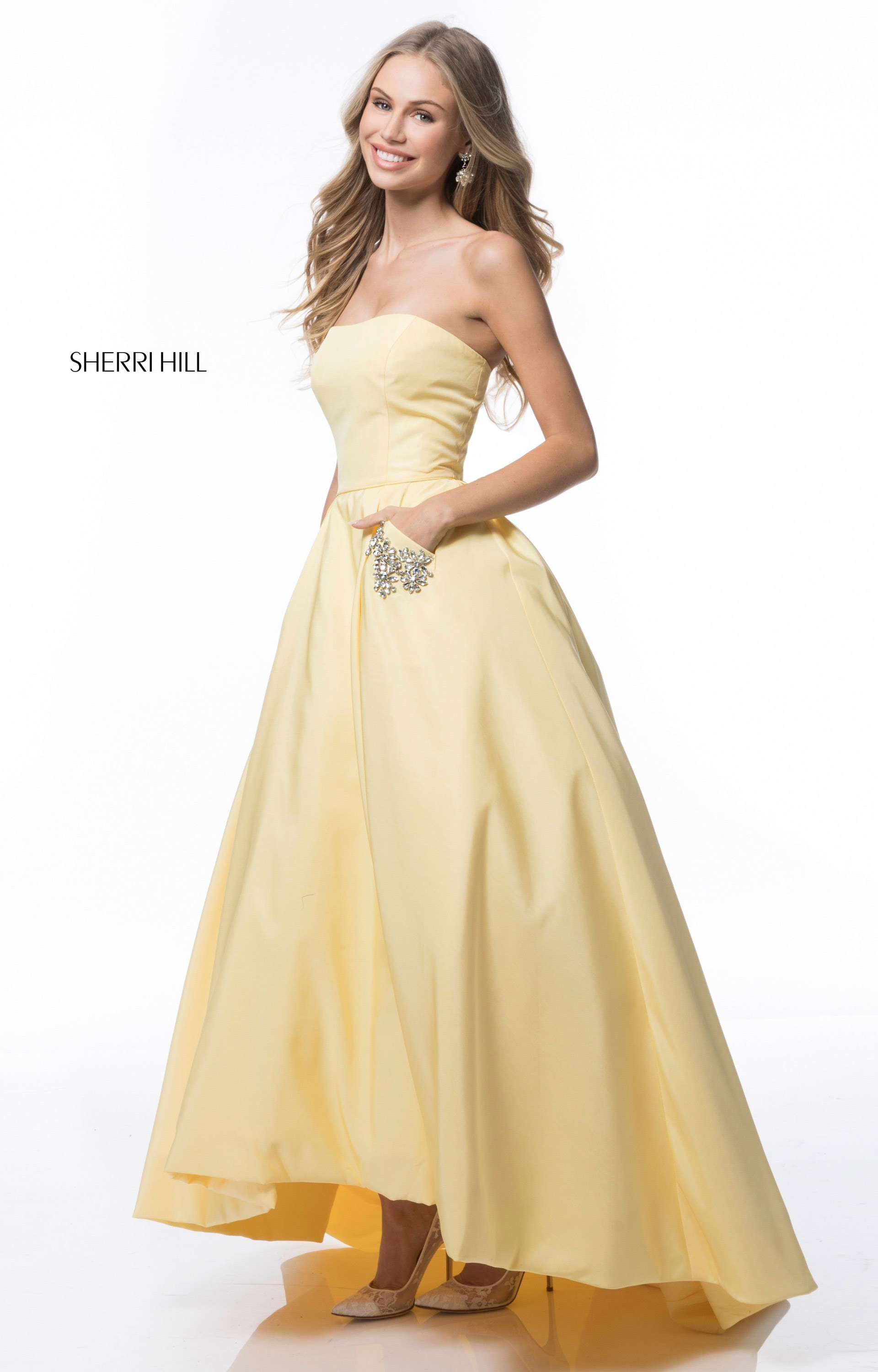 Sherri Hill 51789 - Simple Strapless Ball Gown with Pockets Prom Dress