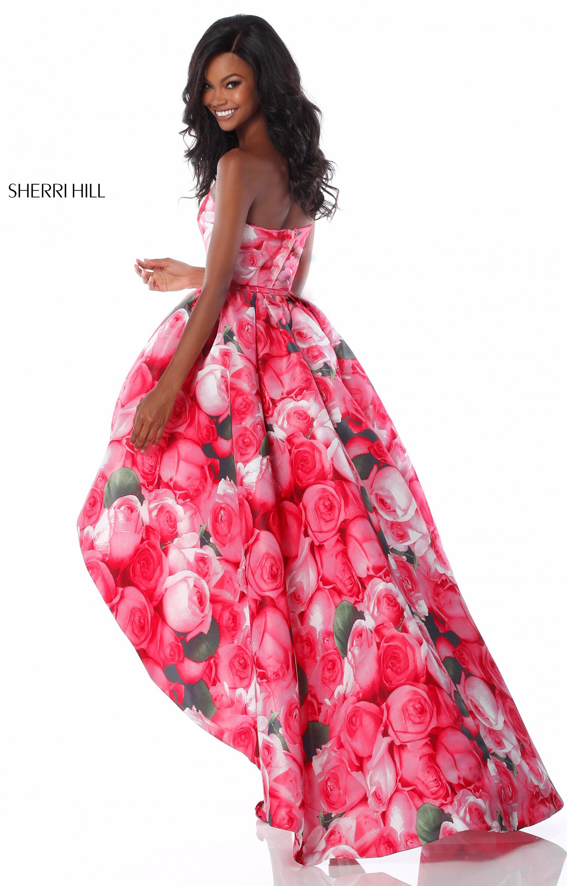 Sherri hill 51791 strapless floral printed high low dress prom dress sherri hill 51791 strapless picture 1 mightylinksfo