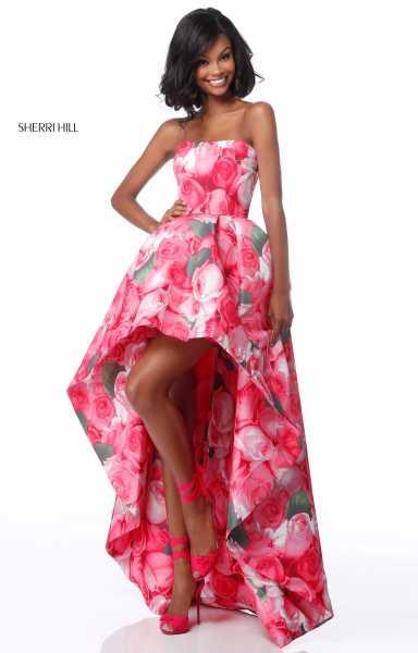 Sherri Hill 51791 Strapless Floral Printed High Low Dress Prom Dress
