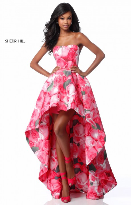 Sherri Hill 51791 Strapless Floral Printed High Low Dress