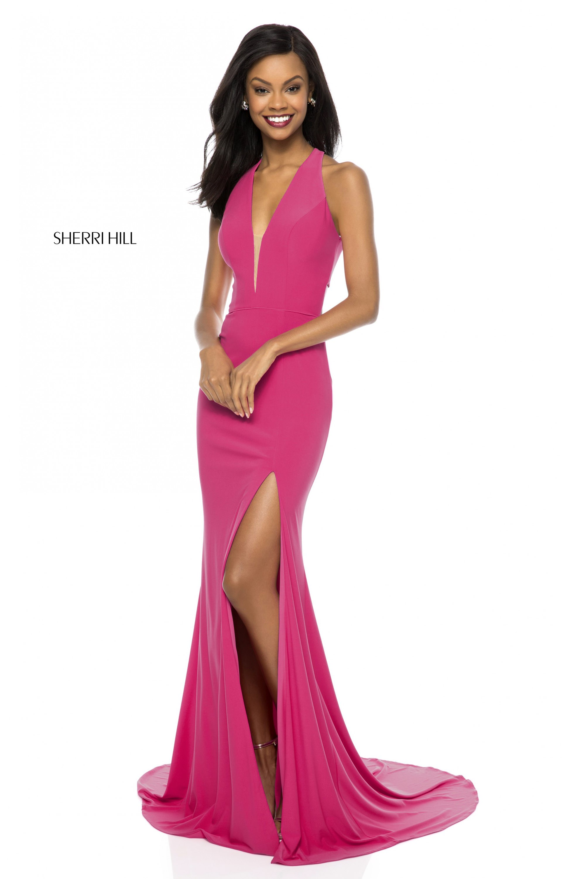 Sherri Hill 51806 - Long Fitted Jersey V-Neck Prom Dress