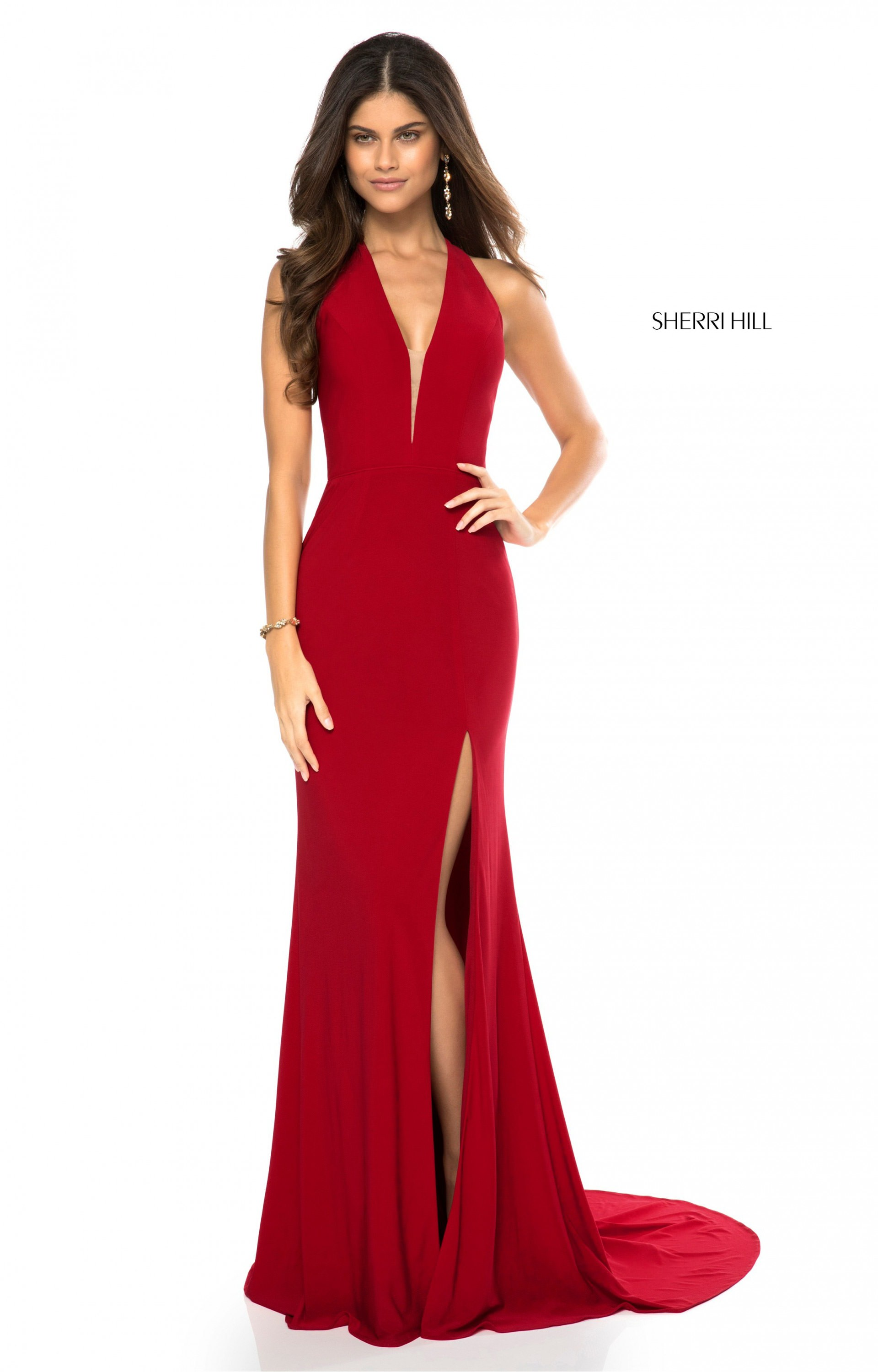 Sherri Hill 51806 Long Fitted Jersey V Neck Prom Dress