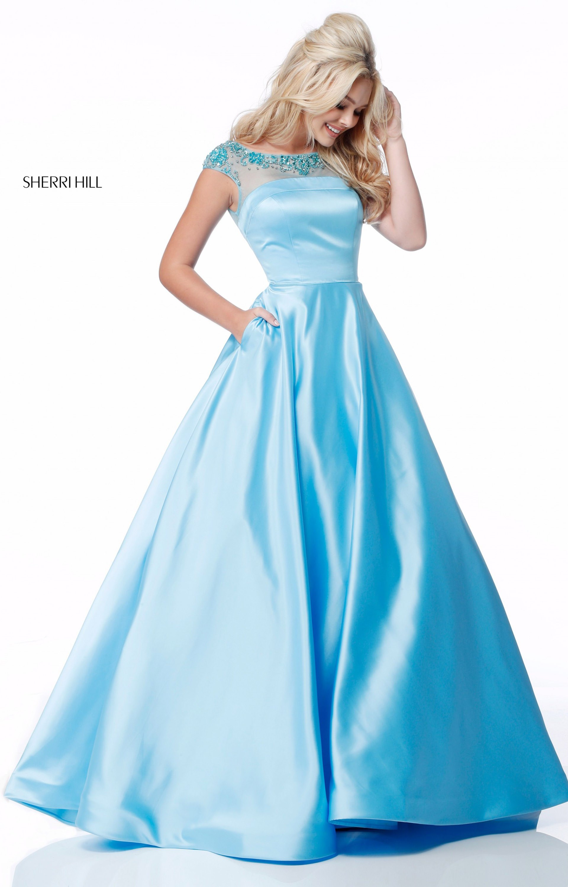 Sherri Hill 51814 Long Satin Ball Gown Cap Sleeves Prom
