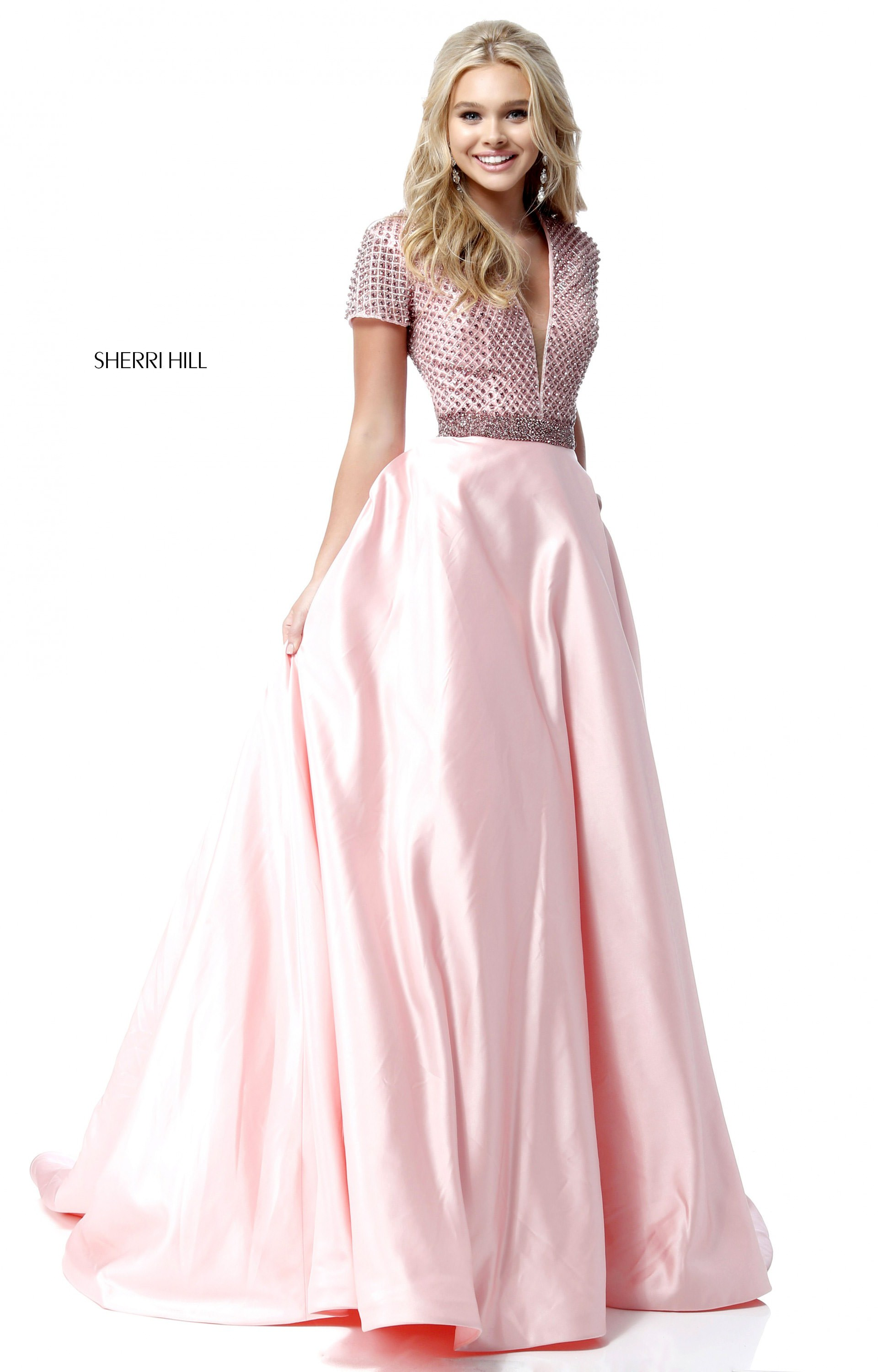 Sherri Hill 51819 V Neck Satin Ball Gown Prom Dress
