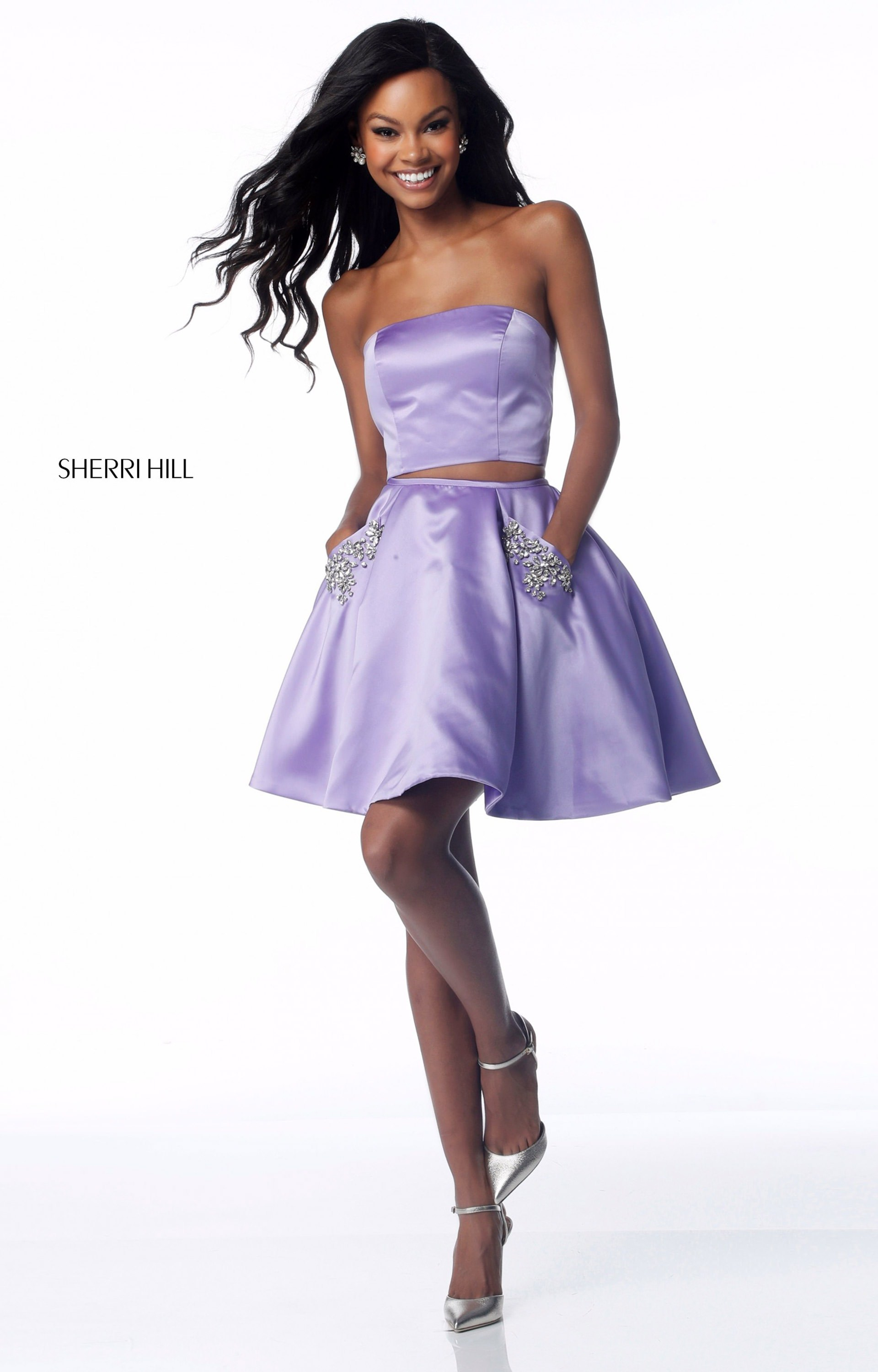Sherri Hill 51823 Short Strapless Satin 2 Piece Prom Dress