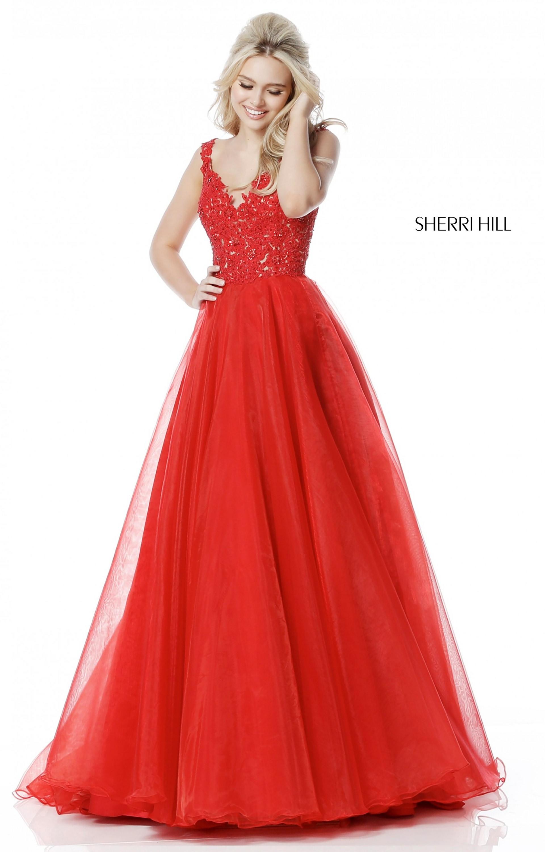 Sherri Hill 51839 Long Tulle Ball Gown V Neck Prom Dress