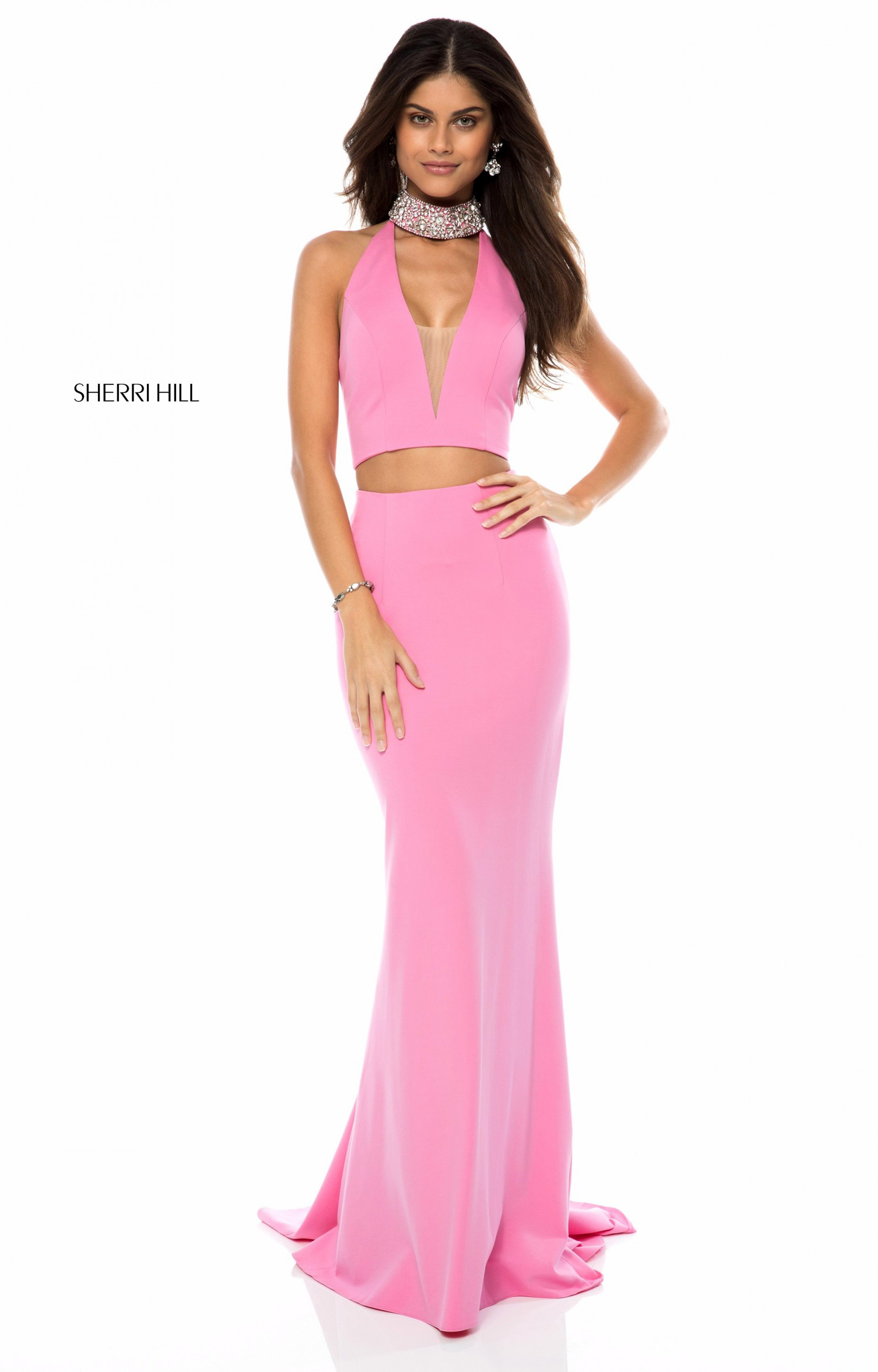 Sherri Hill 51841 - Long 2 Piece Neoprene V-Neck Prom Dress