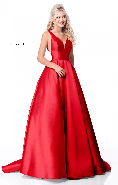 Sherri Hill 51856 - Long A-Line Mikado Ball Gown Prom Dress