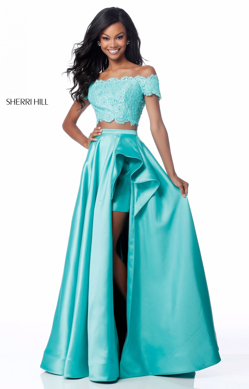 Sherri Hill 51857 - 2 Piece Off the Shoulder A-Line Satin Prom Dress
