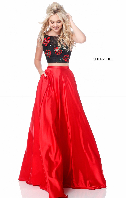 Sherri Hill 51867 Long A Line 2 Piece Charmeuse Prom Dress