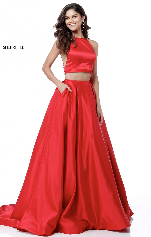Sherri Hill 51883 2 Piece Halter Neckline Ball Gown Prom Dress