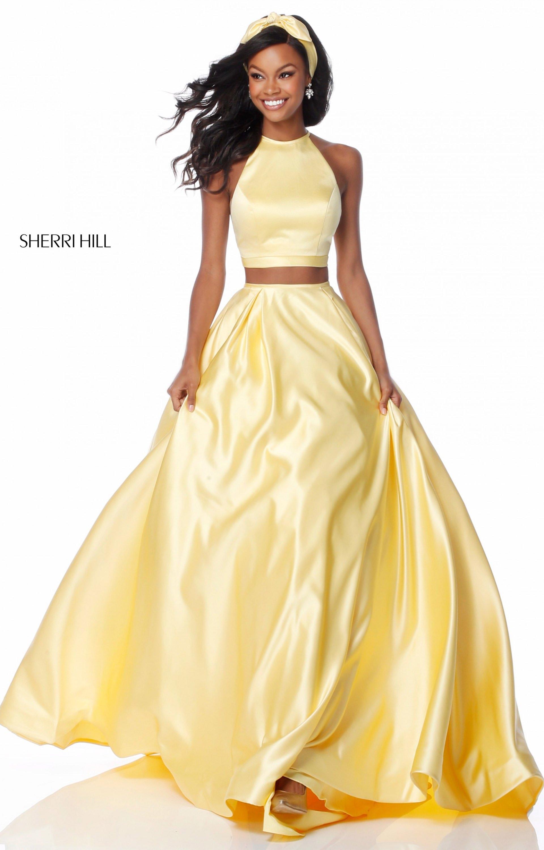Sherri Hill 51883 - 2 Piece Halter Neckline Ball Gown Prom Dress