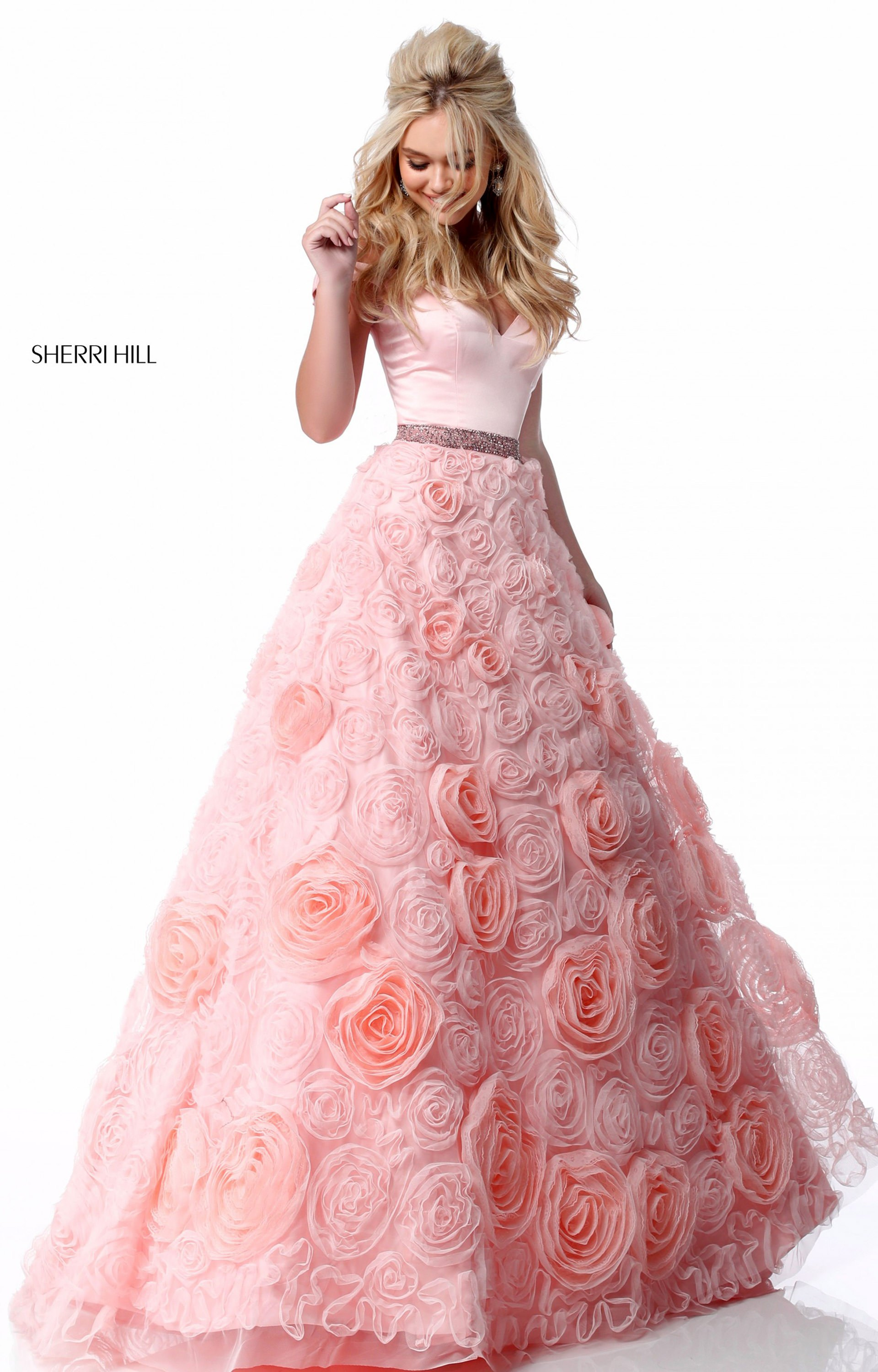 Sherri Hill 51885 - Off the Shoulder Rosette Ball Gown Prom Dress