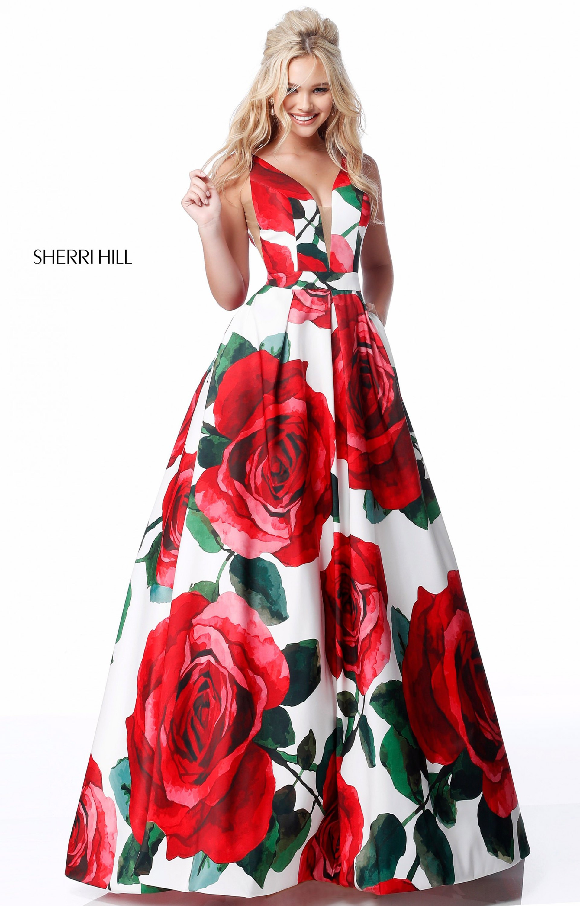 0804a5e33f5 Red Floral Print Prom Dresses