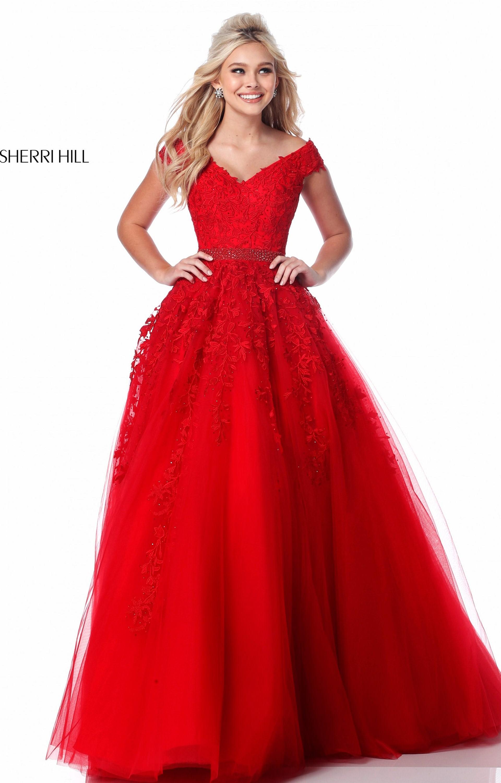 Sherri Hill 51905 Long V Neck Tulle Ball Gown Prom Dress