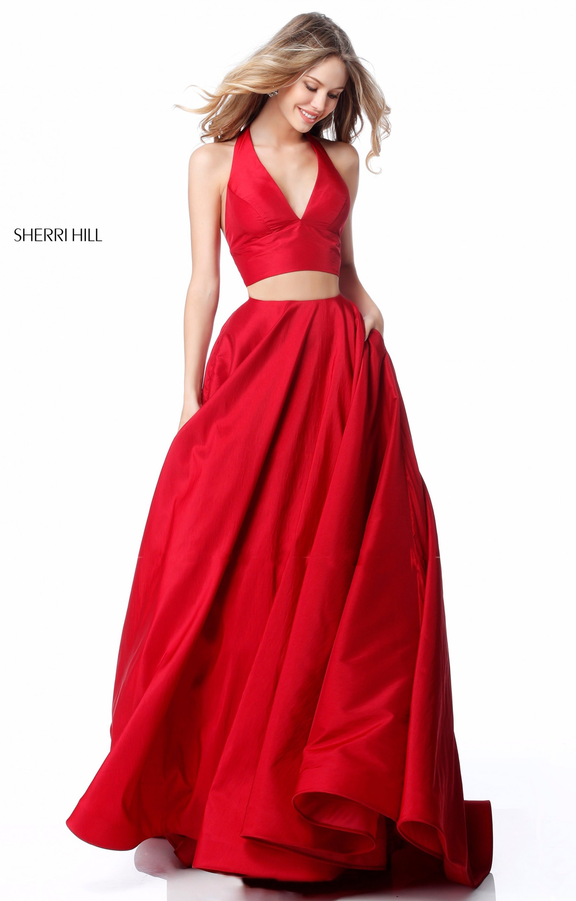 f6c1ad760d Sherri Hill 51923 - Two Piece Halter Low V-neck Prom Dress