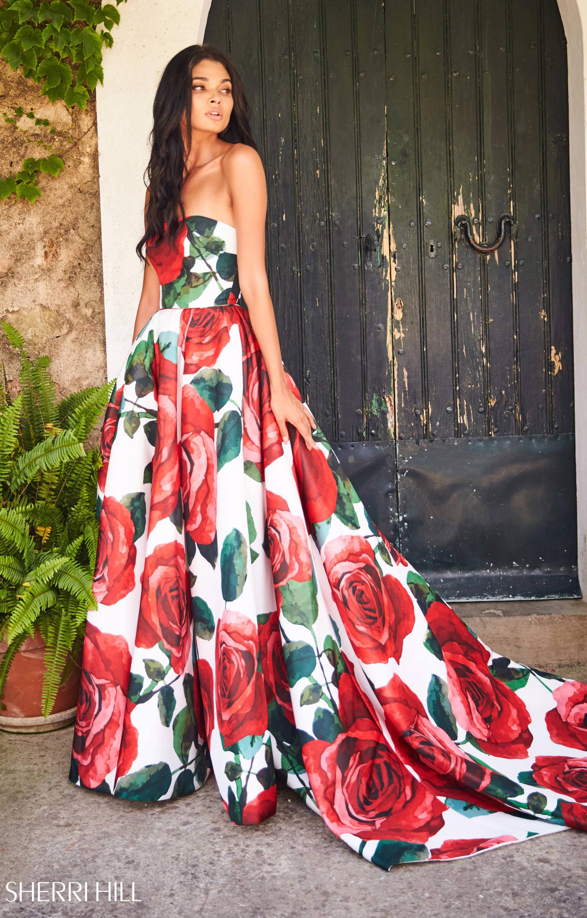 sherri hill 51926 strapless rose patterned ball gown