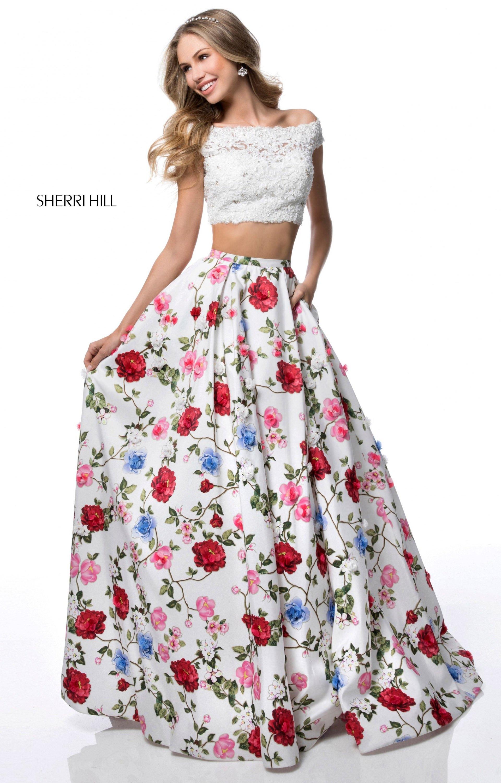 Sherri Hill 51964 - 2 Piece Floral Print Ball Gown Prom Dress