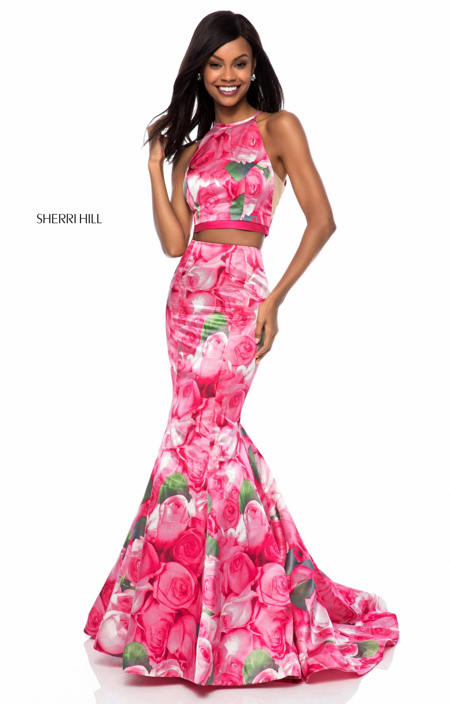 Sherri hill 52000 sleeveless 2 piece floral print mermaid prom dress sherri hill 52000 mightylinksfo