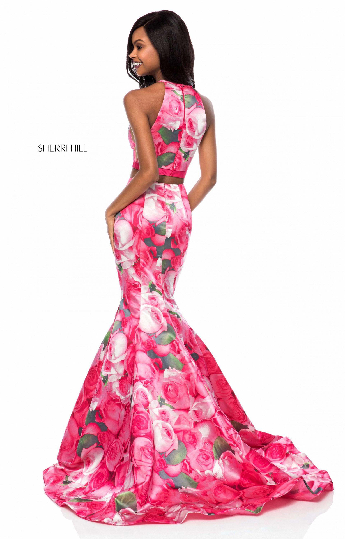 1a73cd95 2 Piece Pink Floral Prom Dress | Saddha