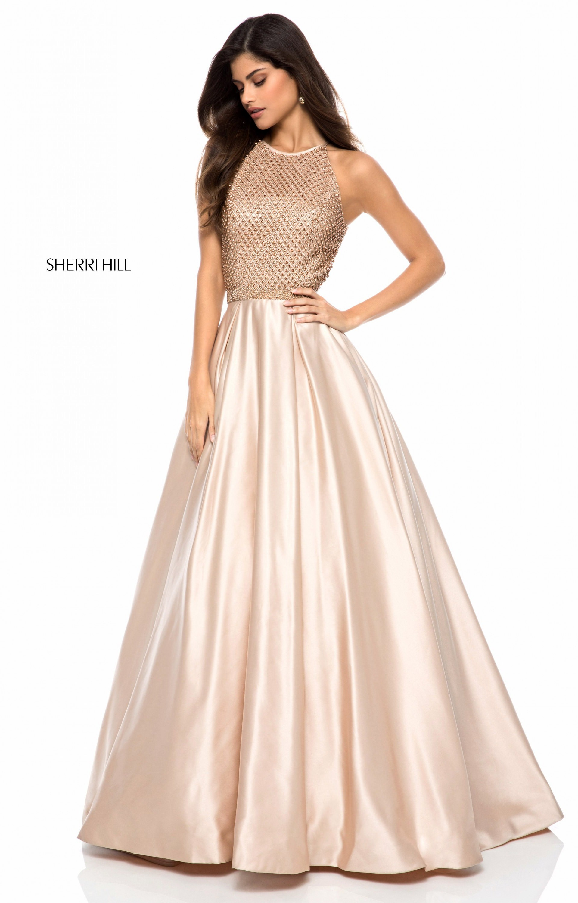 Sherri Hill 52019 - Long Satin Ball Gown Prom Dress