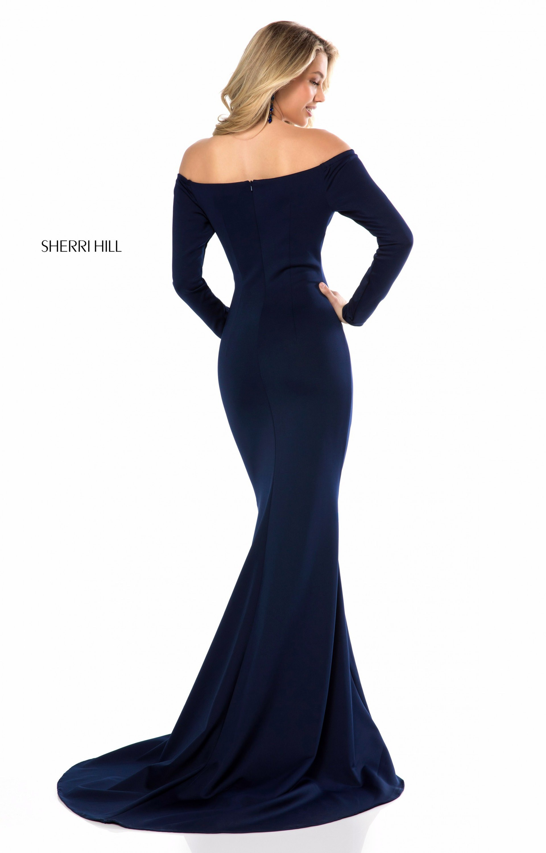 Sherri Hill 52041 Off The Shoulder Fitted Neoprene Prom