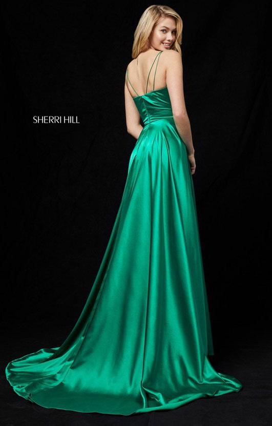 Sherri Hill 52119 - V-Neckline High Slit Satin Long Dress Prom Dress
