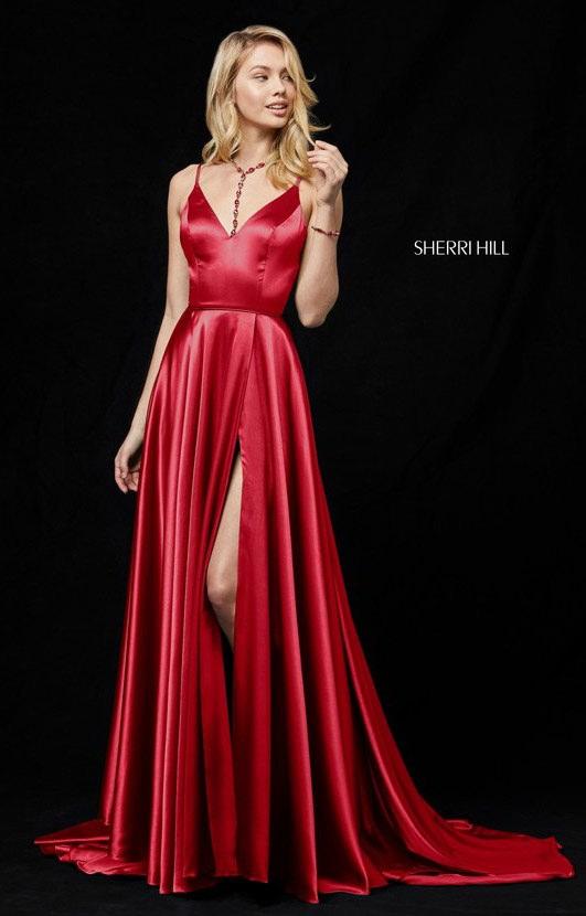 Sherri Hill 52119 V Neckline High Slit Satin Long Dress