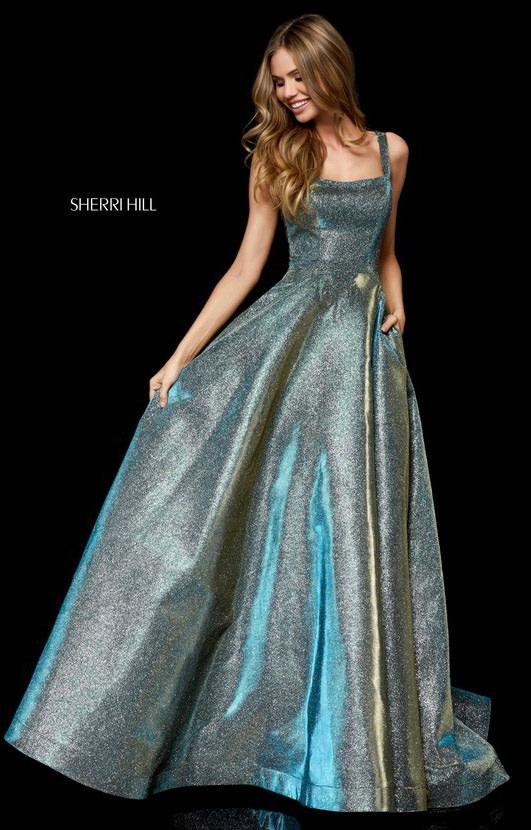 sherri hill 52138 long glitter dress with straps prom dress