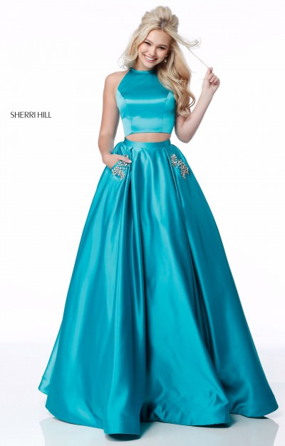 Two Piece Satin Ballgown with Sequined Pockets