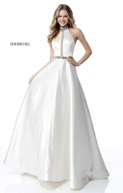 Halter Satin Ball Gown Sequined Collar and Belt