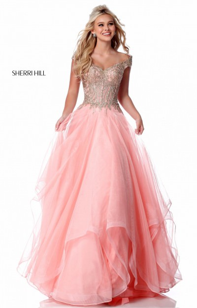 Off the Shoulder A-Line Tulle Ball Gown