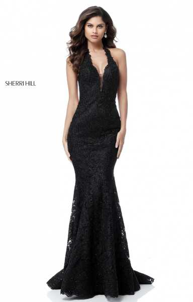 Sherri Hill 51616 Halter, Has Straps and V-Shape picture 1